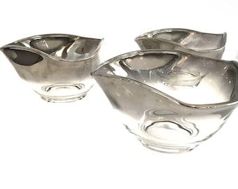 Vintage Silver Ombre Snack Serving Bowls