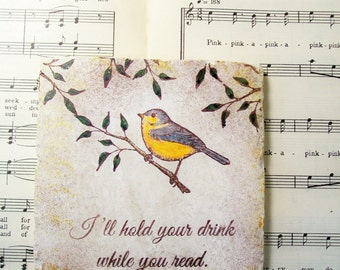 Book Lover's Gift, Bird on a Branch Coasters, Gift for Readers, Book Clubs, Reading Glasses, Bird Lover's Coaster Set of 4 Drink Coasters