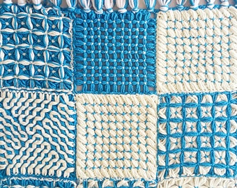 Vintage Blue and White Knit Blanket - Throw Lap Granny Square Cottage Farmhouse Boho Throw Picnic Crochet Knitted Squares
