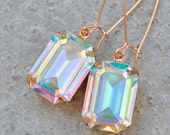 Aurora Borealis Rose Gold Earrings Swarovski Crystal Bridesmaids Earring Northern Lights Vintage Pastel Bridesmaid Wedding Jewelry Rectangle