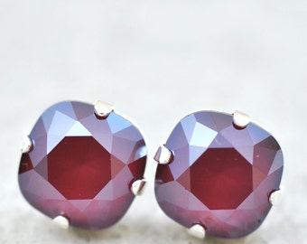 Burgundy Bordeaux Bridesmaids Earrings Swarovski Crystal Dark Red Ruby Studs Clip Ons Leverback Dangles Ox Blood Burgundy Bridesmaid Jewelry