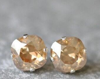 Champagne Gold Stud Earrings Swarovski Earrings Rounded Square Champagne Diamond Mist Stud Earrings Diamond Earrings Beige Golden Shadow