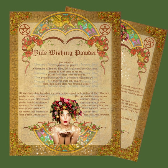 YULE WISHING POWDER, Spells, Book of Shadows Pages,  Digital Download, Grimoire, Scrapbook, Spells, Wicca, Pagan, Witchcraft