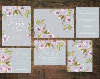Printable Spring in Bloom Wedding Invitation Set   Wedding Invitation Suite, Watercolor Invitation, Floral, Pink, Purple, Invitation