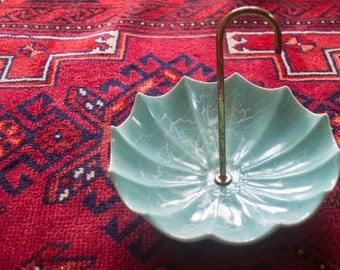 Mid-Century Aqua Footed Umbrella Candy or Trinket Dish