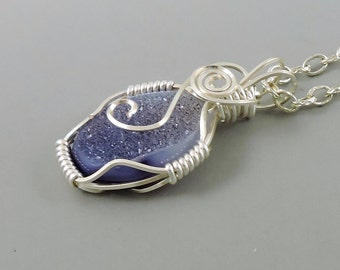 Wire Wrapped Agate Druzy Necklace, Purple Agate Necklace, Gemstone Necklace, Purple Jewelry, Druse, Druze