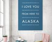 Valentines Day Alaska Decor Art Print, I Love You From Here To ALASKA, Shown in Steel Blue - Choose Color Canvas Frame, Free U.S. Shipping