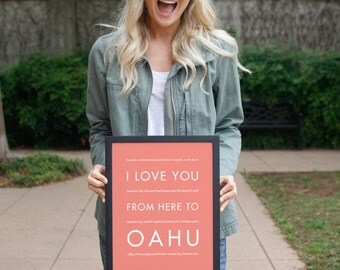 Oahu Art, Hawaii Beach Decor, Hawaii Gift, Travel Poster, I Love You From Here To OAHU, Shown in Coral