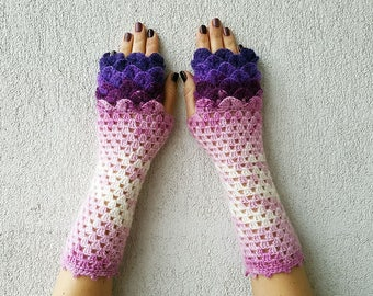 Fingerless Mittens Women gloves Long gloves Accessories Elegant Lacy gloves scaled dragons gloves Violet Burgundy Pink White Mareshop gloves