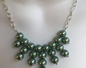 Pearl bib style necklace and earring set