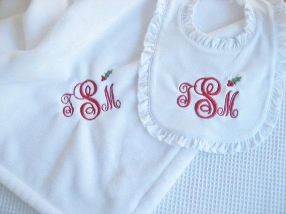 Christmas Baby Gift Set Christmas Baby Blanket Christmas Baby Gift Set Christmas Blanket Monogrammed Blanket Bloomers Bib