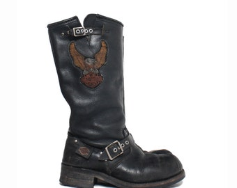 7 1/2 | Men's Vintage Harley Davidson Motorcycle Boots Tall Engineer Boots