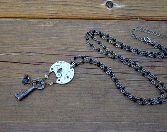 Steampunk Necklace with Antique Skeleton Key and Czech Glass charms on long sparkling faceted jet black beaded chain handmade jewelry gift