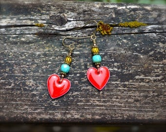 Colorful Heart Earrings handmade red heart earrings with turquoise blue Czech glass and yellow and black vintage tribal beads jewelry gift