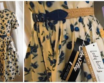 Vintage 1950s Dress Deadstock Novelty Print Rayon Spring Dress Fruit Print NWT 36 x 26 x full
