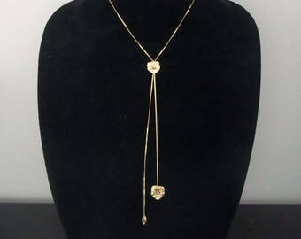 Vintage Diamond 14k Yellow Gold Lariat Necklace Pansy Flower Floral Estate