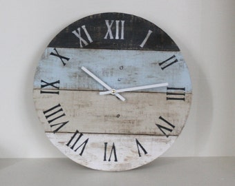 Round Clock Reclaimed Wood wall clock. Pale Blue and neutral. Pallet Wood. Beach House style. distressed...Coastal Decor