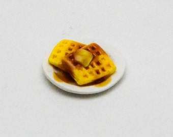 Dollhouse Miniature Food - One Inch Scale Waffle Breakfast - With Dark Syrup and Butter - On Plate