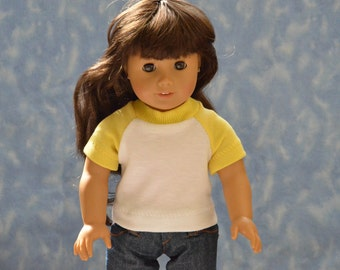 "18"" Girl Doll Clothes - Fits American Girl - Götz - Yellow and White T-Shirt - Handmade"
