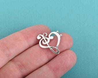 5 Silver MUSIC NOTE Charms, Treble Clef and Bass Clef, 25x20mm, chs2985