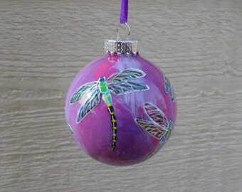 Dragonfly Ornament, Hand painted ornament, glass Christmas ornament, fuchsia , purple 322