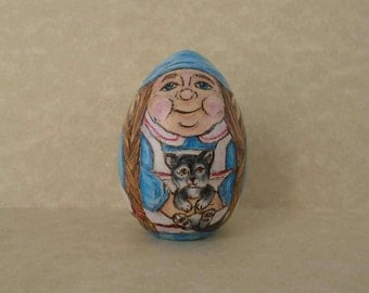 Gnome Easter egg, decorated egg, garden gnome paperweight, pyrography, wood burning