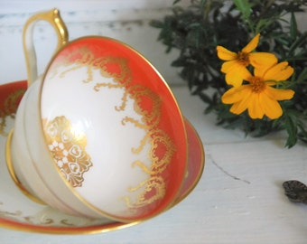 Beautiful Orange and Gilt AYNSLEY Footed Tea cup and Saucer, England