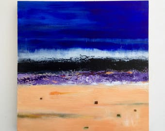 Abstract landscape, ocean art, small painting, stormy skies, acrylic painting, original art