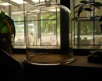 Antique Huge Glass Garden Cloche 1940's Heavy Glass Decorator Cloche Some Bubbles Thick Bottom Rim Decorator Antique Display Cloche