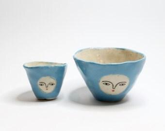 Blue - Pair of wonky shot glasses