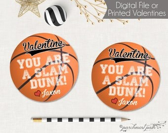 Basketball Valentines - You're a Slam Dunk Basketball Valentine Favor Tags - Printable Valentine Cards - Printed Valentines