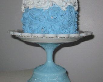 small Blue milk glass Cake Stand Pedestal Dessert Stand/pierced/Cake Stand/tidbit/cupcake/Serveware/blue/milk glass/Baby shower/blue