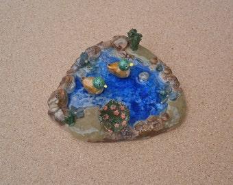 Ceramic duck pond - Terrarium ornament - Handmade stoneware pool with glass - Mallard ducks in pond ornament