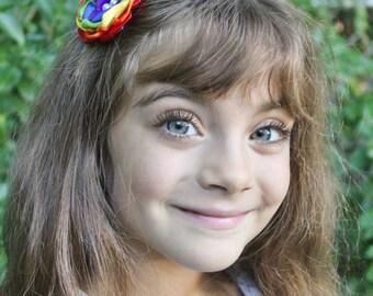 Boho Rainbow Flower Hair Bow - Layered Rainbow Hair Clip - Rainbow Hair Accessories