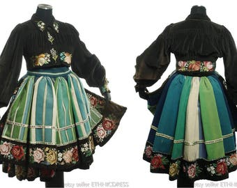 Complete Woman's Polish Folk Costume from Lowicz, Poland - embroidered velvet jacket | striped dress & apron | ethnic peasant style | faded