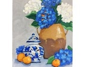 Original painting: Still Life of Hydrangeas in Tuscan Urn with Blue and White Ginger Jar