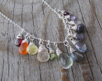 Rainbow Gemstone Necklace, mixed gemstones, wire wrapped, silver necklace
