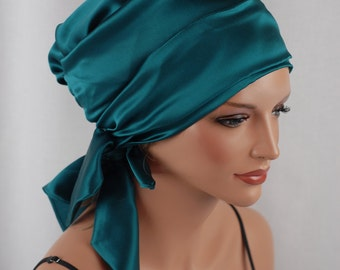 Silk Charmeuse Tichel, Peacock Hair Snood, Head Covering Scarf Bandana, Chemo Wrap, Sinar or Apron Tichel, Jewish Head covering