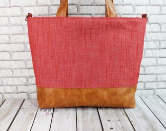 Extra Large Lulu Tote - Red Denim READY to SHIP