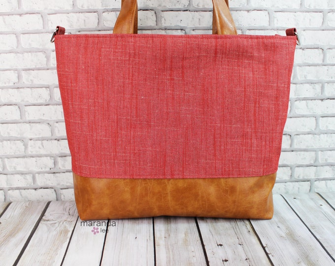 Extra Large Lulu Tote Overnight Diaper Bag - Red Denim and PU Leather -  Zipper Closure Beach Dance Travel Bag 7 pockets