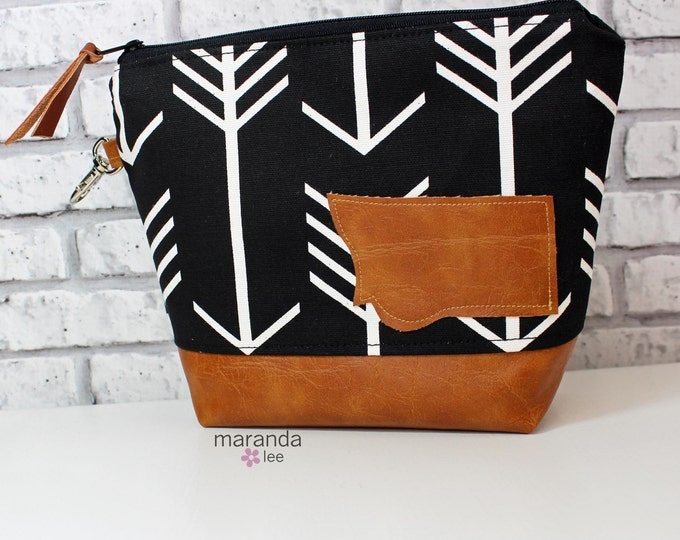 AVA Medium Clutch - Black Arrows with Montana Patch PU Leather  READY to SHIp Cosmetic bag Travel Make Up Zipper Pouch