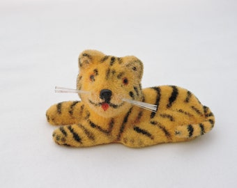 Vintage 1960s Miniature Fuzzy Flocked Tiger - Wagner Kunstlerschutz Handwork West Germany - Flocked Animal Figure