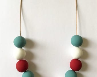 Geometric Colorful Necklace Red White Blue