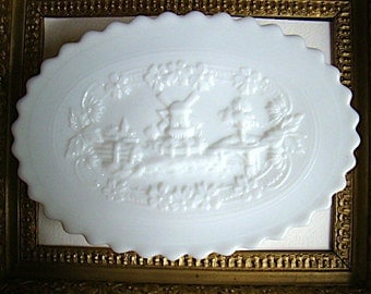 Vintage Imperial Milk Glass Dish with Raised Windmill Design