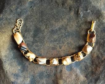 Vintage Polished Stones Bracelet Agate Links