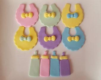 24 Baby Shower Fondant Cupcake Toppers - Baby Bibs & Bottles