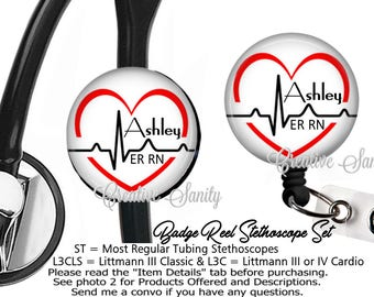 Nurse ID Set, Personalized Heart Rhythm, Personalized Stethoscope ID Tag and Badge Reel Combo Set, READ Listing Carefully