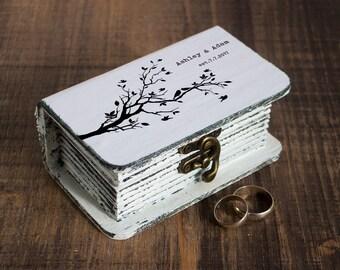 Wedding ring box, Personalized wedding box White Ring box Ring bearer box Love birds ring box Wedding ring holder Engagement box Book box