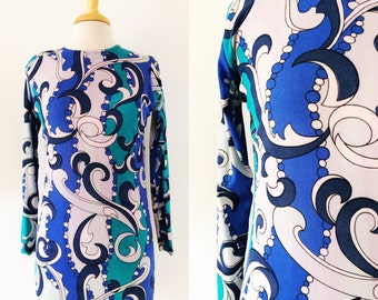 60s Psychedelic Tunic // Blue Pucci Inspired Short Gown // Long Sleeve Mod Sheath Style Dress