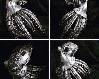 Mecha Kraken Statue, Cyberpunk Steel Finish